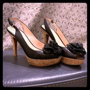Sling back rosette platforms with cork heel